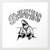 swimming Art Prints featuring Swimming by Akoala