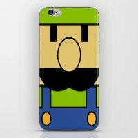 luigi iPhone & iPod Skins featuring Minimal Luigi by pruine