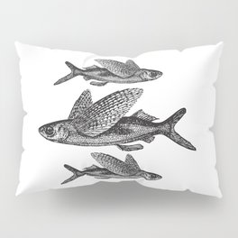 Flying Fish | Black and White Pillow Sham