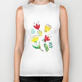 water-colours flowers Biker Tank