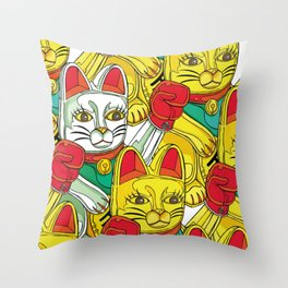 ARMY OF BOXING CATS Throw Pillow
