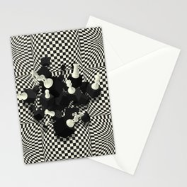 Chessboard and 3D Chess Pieces composition Stationery Cards