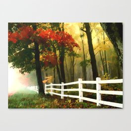 Fall scene with fence Canvas Print