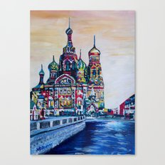 st petersburg  with church of the savior on blood Canvas Print