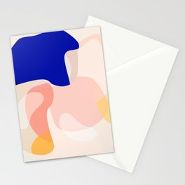 Modern Abstract Peach Pink Navy Blue Yellow Pattern Stationery Cards