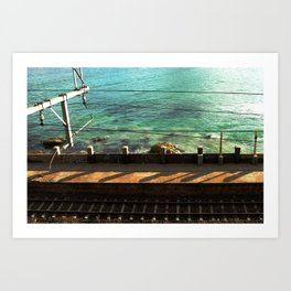 Train Tracks and Ocean Art Print