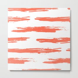Brushed Stripe Deep Coral on White Metal Print
