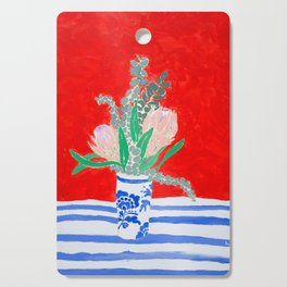 Protea Still Life in Red and Delft Blue Cutting Board