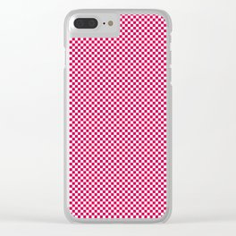 Bright Pink Peacock and White Mini Check 2018 Color Trends Clear iPhone Case