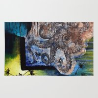 literary Area & Throw Rugs featuring Literary Octopus by Sarah Sutherland