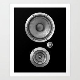 Subwoofer Speaker on black Art Print