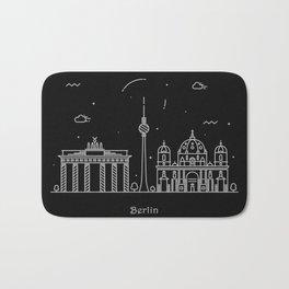Berlin Minimal Skyline Drawing Bath Mat