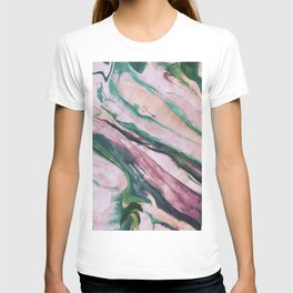 Pastel, light colored, pink, marble design T-shirt