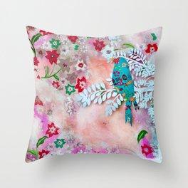 Little bird on branch Throw Pillow