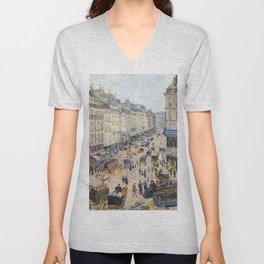 """Camille Pissarro """"La Rue Saint-Lazare, temps lumineux"""" Unisex V-Neck"""