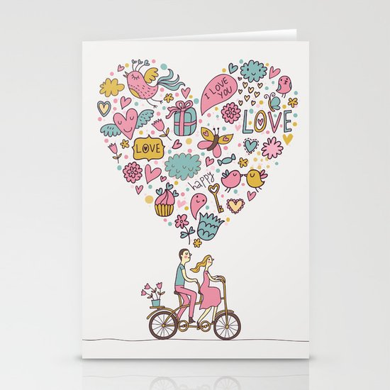 Be Happy, Be In Love Stationery Cards