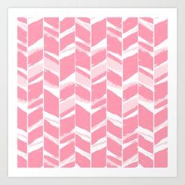 Modern abstract pink geometric brushstrokes chevron pattern Art Print