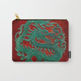 Wooden Jade Dragon Carving on Red Background Carry-All Pouch