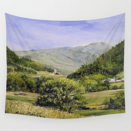Pastures and Mount Mansfield Oil Landscape Vermont Painting Wall Tapestry