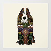 the hound Canvas Prints featuring Basset Hound by Sharon Turner
