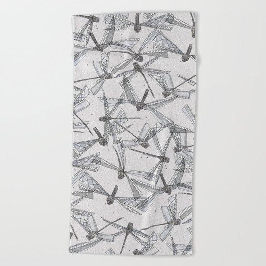 watercolor dragonflies silver Beach Towel