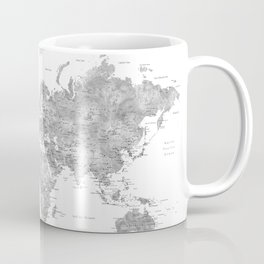 Grayscale watercolor world map with cities Coffee Mug
