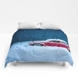 Winter Storm Red Car Comforters