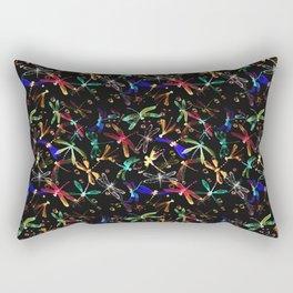Neon dragonfies on the black background Rectangular Pillow