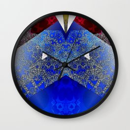 Royalty Inspired Blue Red Gold Abstract Wall Clock