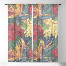 Tropical Paradise Hawaiian Floral Illustration Sheer Curtain