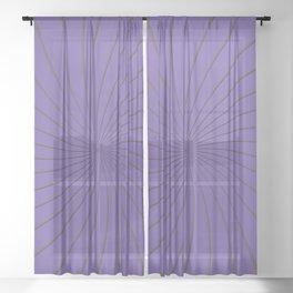 3D Purple and Gray Thin Striped Circle Pinwheel Digital Graphic Design Sheer Curtain