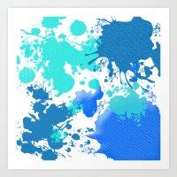 Ink Splatter in Blue Art Print