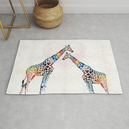 Colorful Giraffe Art - I've Got Your Back - By Sharon Cummings Rug