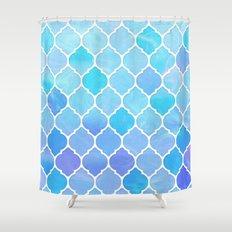 Blue and purple glass Moroccan print Shower Curtain