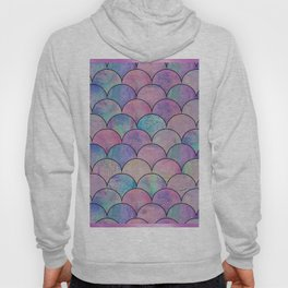 Informe Abstracta Pink Fish Scale Pattern Scallop Abstract Design Hoody