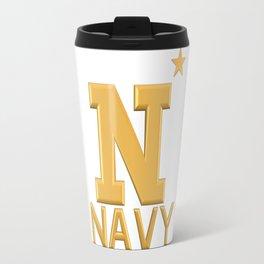 Navy Star Gold Logo Travel Mug