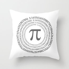 The Pi symbol mathematical constant irrational number on circle, greek letter, background Throw Pillow