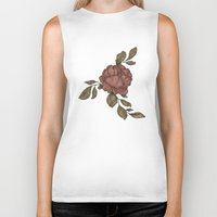 rose Biker Tanks featuring Rose by Jessica Roux