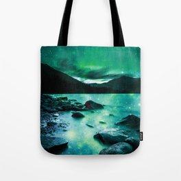 Magical Mountain Lake Teal Green Tote Bag
