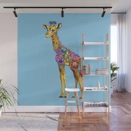 Geraldine the Geniunely Nice Giraffe Blue Wall Mural