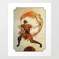 zuko Art Prints featuring Fire by Madalyn McLeod