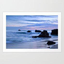 Blue Sunset Beach Art Print