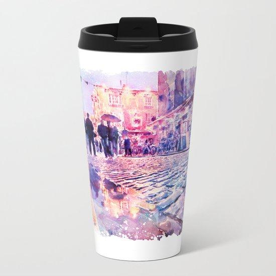 Dublin Watercolor Streetscape Metal Travel Mug