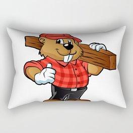 Beaver holding a plank of wood Rectangular Pillow