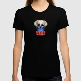 Cute Puppy Dog with flag of Russia T-shirt