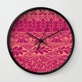 Mountain Tapestry in Sunset Pink Wall Clock