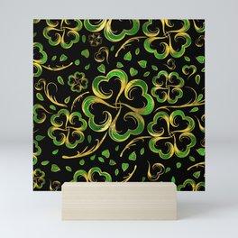 Irish Shamrock Four-leaf Lucky Clover Pattern Mini Art Print
