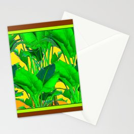 COFFEE BROWN TROPICAL GREEN & GOLD FOLIAGE ART Stationery Cards