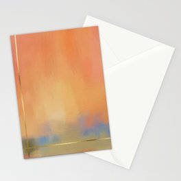 Abstract Landscape With Golden Lines Painting Stationery Cards