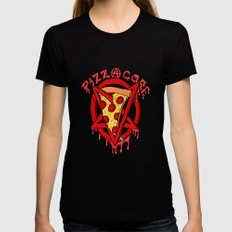 Pizzacore MEDIUM Black Womens Fitted Tee